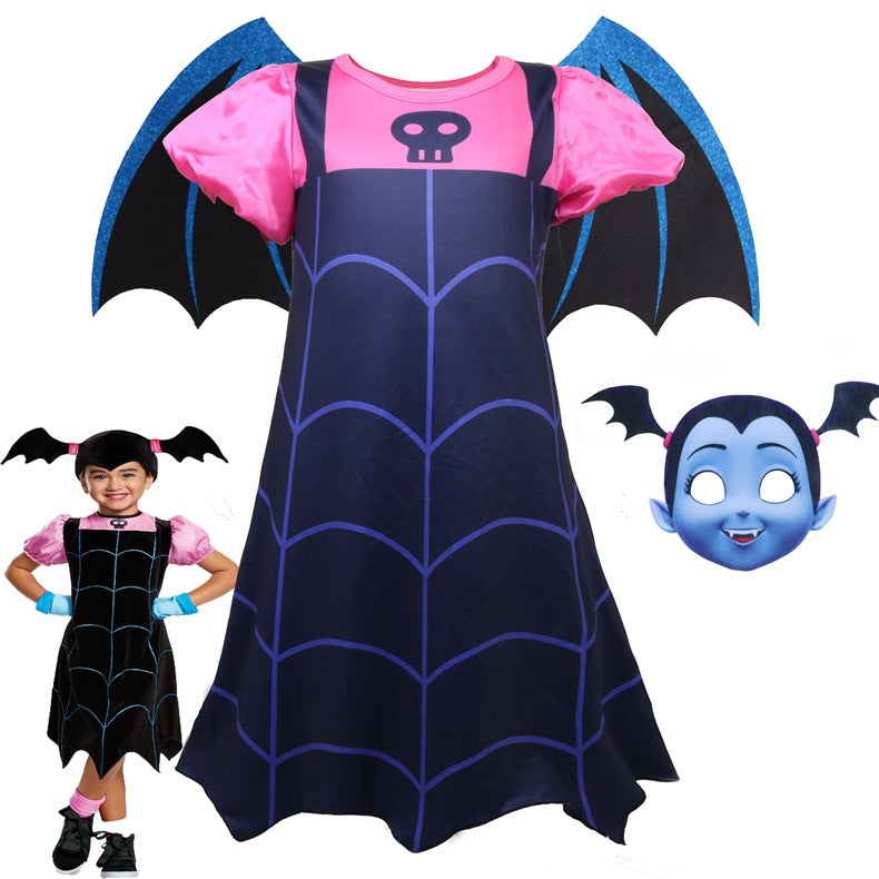 Girl Vampire Jumpsuits Chrismas Princess Dress Halloween Cosplay Costume Bodysuit For Kids