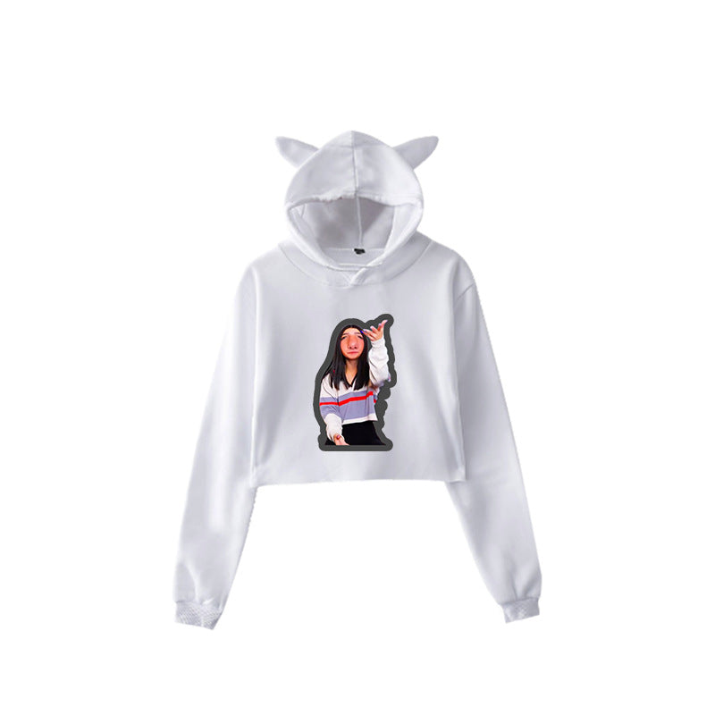 TikTok Charli D'Amelio #2 Bunny Ear Hoodies Sweatshirt Pull over Hip Hop Top Sweater for Youth