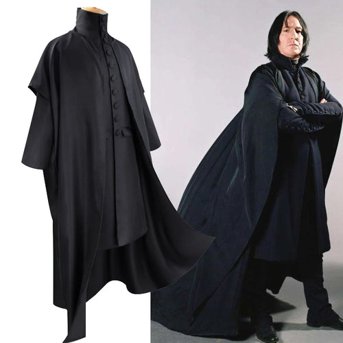 Harry potter Professor Severus Snape Halloween Cosplay Costume Hogwarts School Cloak Deathly Hallows Magic Robe Professor Uniform
