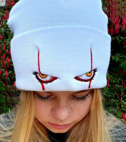 Stephen King Pennywise Scary Eyes Unisex Knitted Hat Halloween Cosply Cap