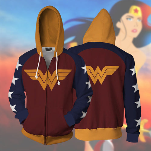 Wonder Woman Cosplay Hoodie Sweatshirt Sweater Unisex Zipper Jacket Coat