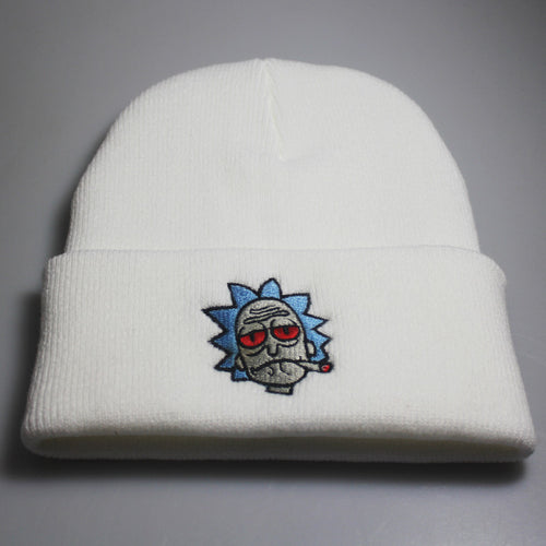 Rick and Morty Embroidered Woolen Hat Winter Knitted Hat Warm Hip-hop Cap