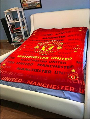 Manchester United Football Club Plush Raschel Throw Blanket with Sherpa Lining