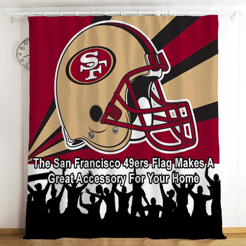 San Francisco 49ers NFL #8 Blackout Curtains For Window Treatment Set For Living Room Bedroom