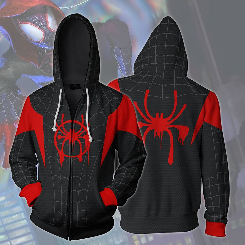 Spider-Man Into the Spider-Verse Miles Morales Cosplay Sweater Hoodie For Adults