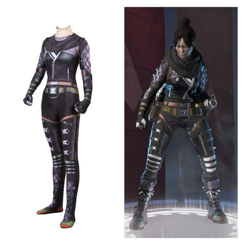 2019 Game Apex legends Ghost Spirit Wraith Cosplay Costume Women Girl Zentai Spandex Tights Bodysuit Jumpsuit