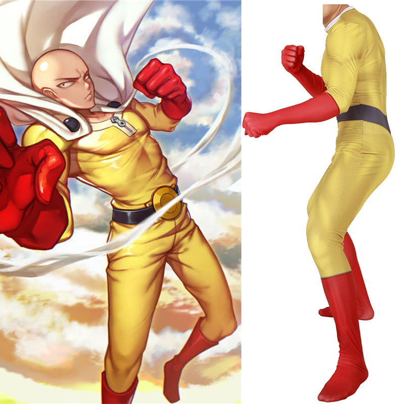 One Punch Man Saitama Spandex Jumpsuits Cosplay Costume