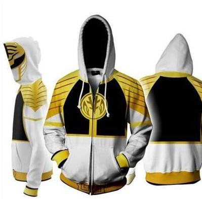 Power Rangers Mighty Morphin Legacy White Ranger Sweater Cosplay Costume