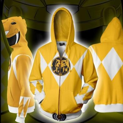 Power Rangers Mighty Morphin Legacy Yellow Ranger Sweater Cosplay Costume