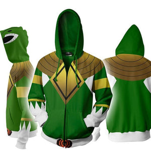 Power Rangers Mighty Morphin Legacy Green Ranger Sweater Cosplay Costume