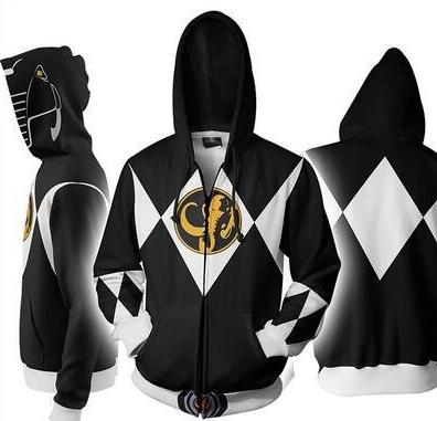 Power Rangers Mighty Morphin Legacy Black Ranger Sweater Cosplay Costume