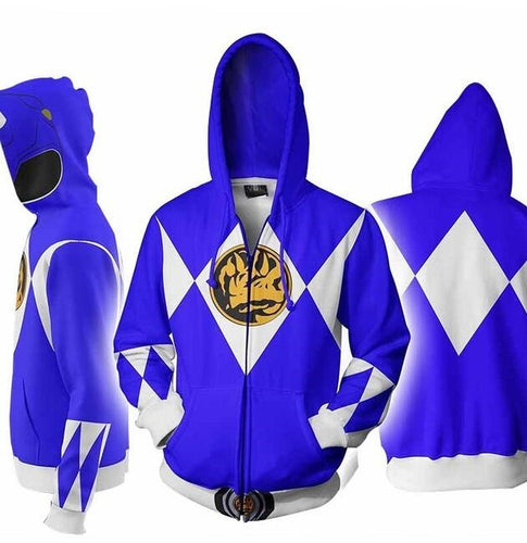 Power Rangers Mighty Morphin Legacy Blue Ranger Sweater Cosplay Costume