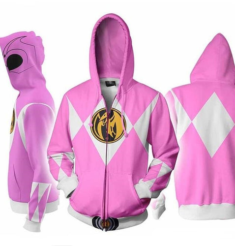 Power Rangers Mighty Morphin Legacy Pink Ranger Dino Sweater Cosplay Costume