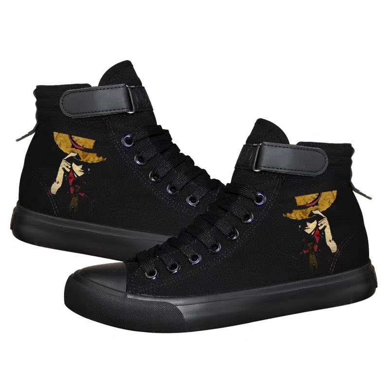 Anime One Piece Monkey D. Luffy High Top Canvas Sneakers Cosplay Shoes For Kids