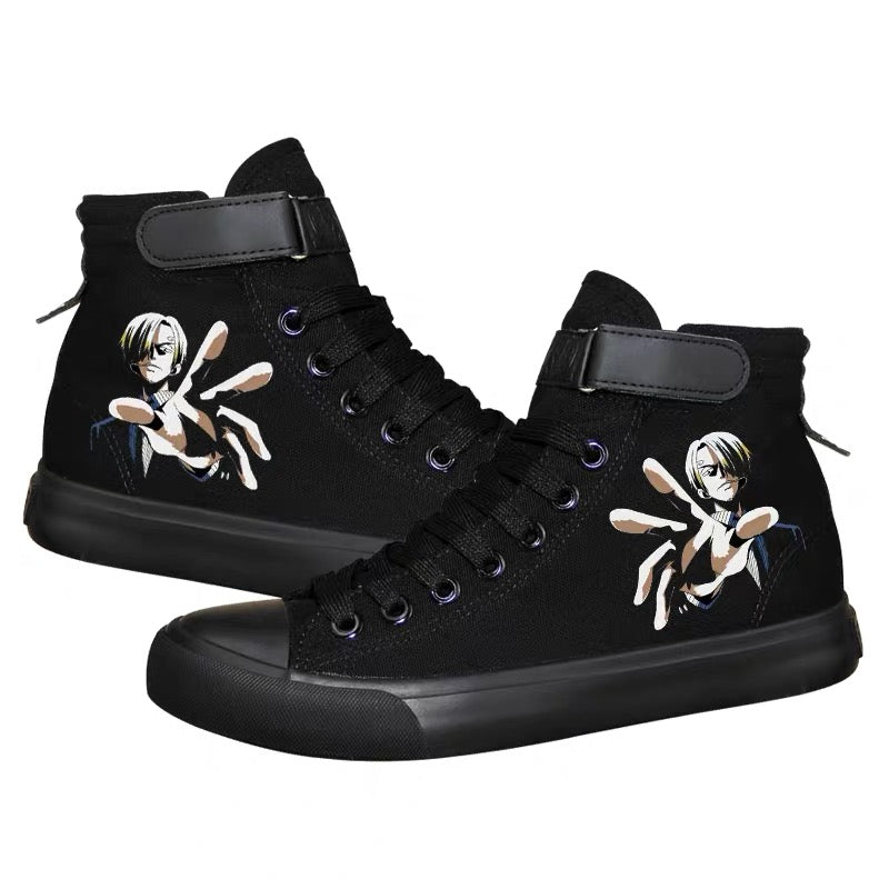 Anime One Piece High Top Canvas Sneakers Cosplay Shoes For Kids