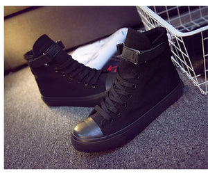 Kpop BTS JUNG KOOK 97 High Tops Casual Canvas Shoes Unisex Black Sneakers