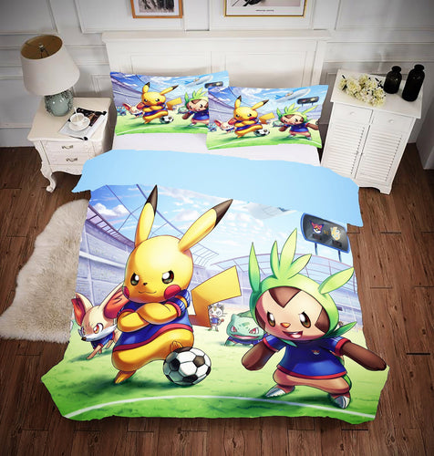 Game Pokemon Pikachu Bedding Set Duvet Cover Set Bedroom Set Bedlinen 3D Bag For Kids