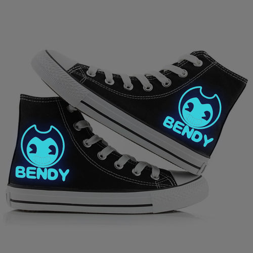 Bendy and the Ink Machine #1 High Tops Casual Canvas Shoes Unisex Sneakers For Kids Adults Luminous