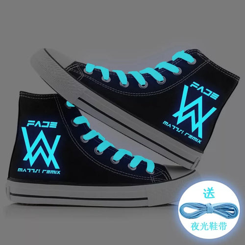 Hip Hop Alan Walker DJ #3 High Tops Casual Canvas Shoes Unisex Sneakers For Kids Adults Luminous