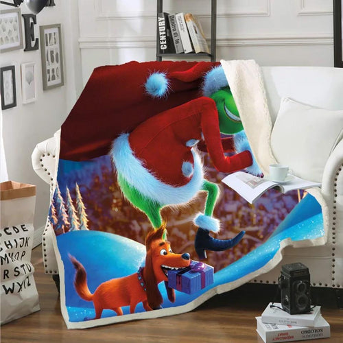 How the Grinch Stole Christmas Blanket Super Soft Cozy Sherpa Fleece Throw Blanket for Men Boys