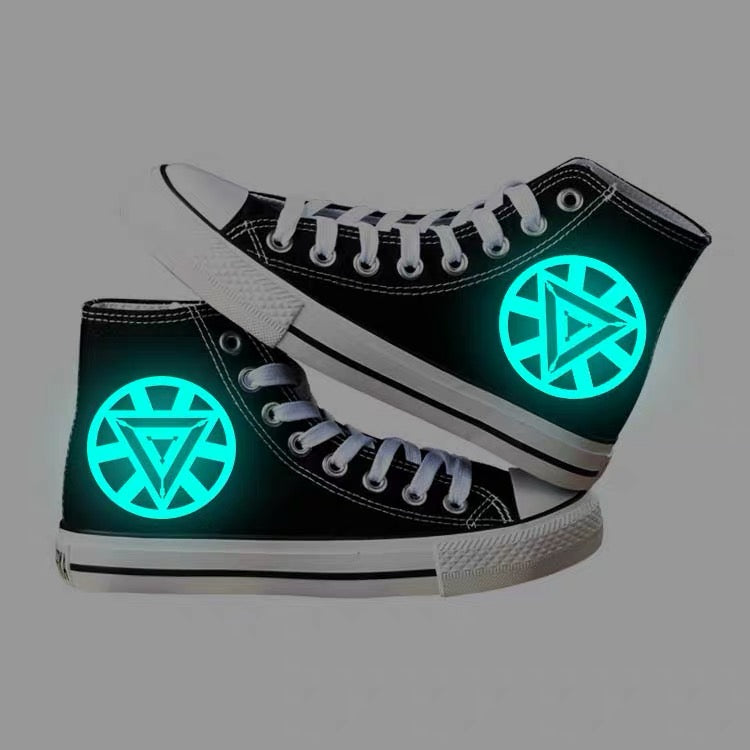 Iron Man Arc Reactor High Tops Casual Canvas Shoes Unisex Sneakers For Kids