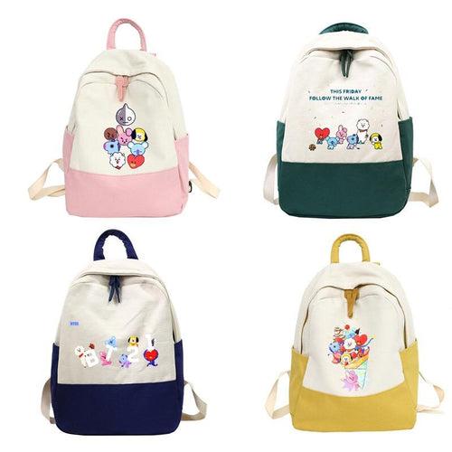 BTS BT21 Backpack School Bags for Teenage Girls Travel Shoulder Canvas Bags