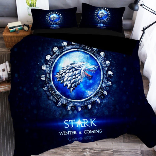 Game of Thrones Stark Winter Is Coming Wolf Bedding Set Duvet Cover Set Bedroom Set Bedlinen 3D Printing