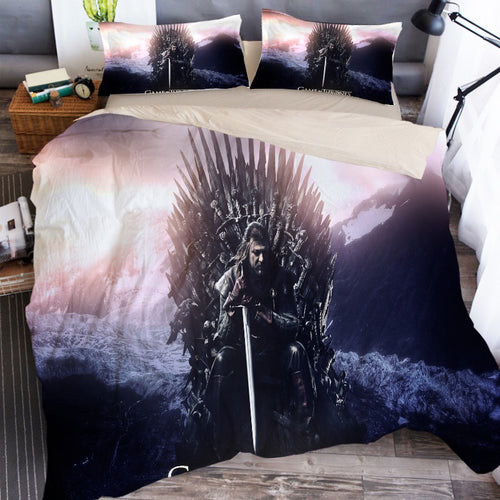 Game of Thrones Iron Throne Eddard Stark Bedding Set Duvet Cover Set Bedroom Set Bedlinen 3D Printing