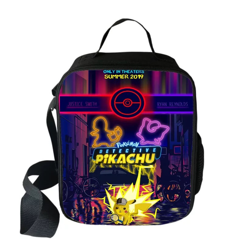 Pokemon Detective Pikachu Insulated Lunch Bag for Boy Kids Thermos Cooler Adults Tote Food Lunch Box