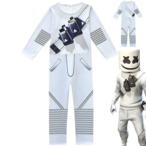 Fortnite Marshmello DJ Party Cosplay Costume Halloween Zentai Jumpsuit For Kids