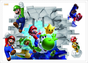 Super Mario Wall Decor Peel & Bedroom Stick Poster Decals