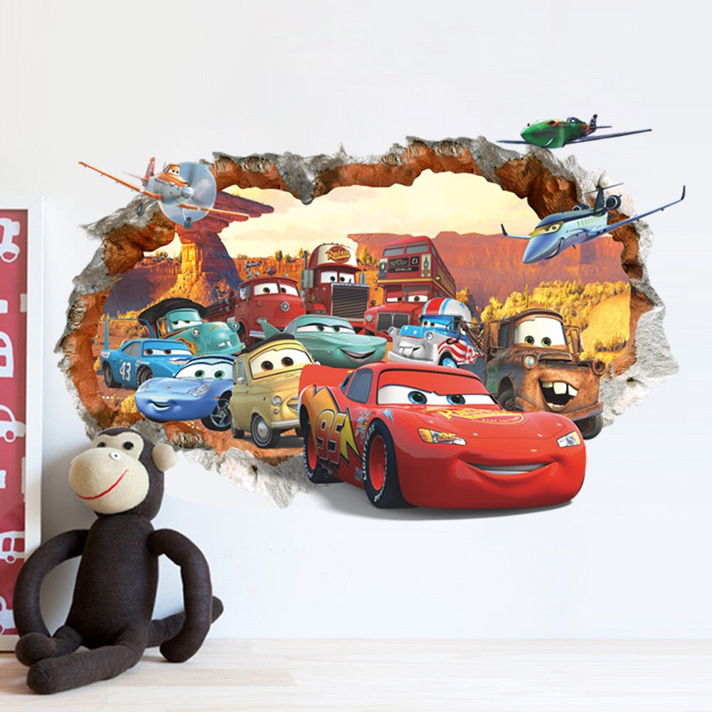 Cars Lightning McQueen Wall Decor Peel & Bedroom Stick Poster Decals
