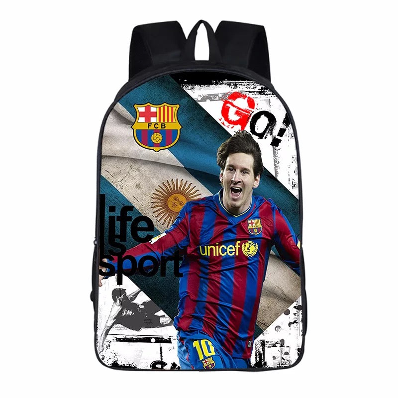 FCB Barcelona Messi Soccer Backpack School Sports Bag