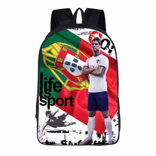 Cristiano Ronaldo Jersey Portugal Soccer Backpack School Sports Bag
