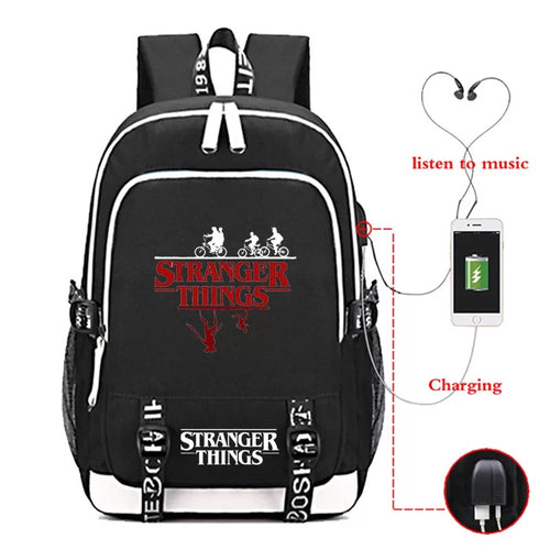 Stranger Things Eleven #4 USB Charging Backpack School Note Book Laptop Travel Bags