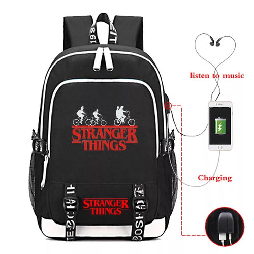 Stranger Things Eleven #5 USB Charging Backpack School Note Book Laptop Travel Bags