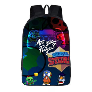 "Game Brawl Stars Are You Player Backpack 16"" School Sports Bag"