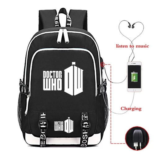 Doctor Who #1 USB Charging Backpack School Note Book Laptop Travel Bags