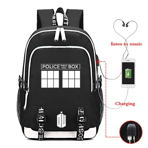 Doctor Who #2 USB Charging Backpack School Note Book Laptop Travel Bags