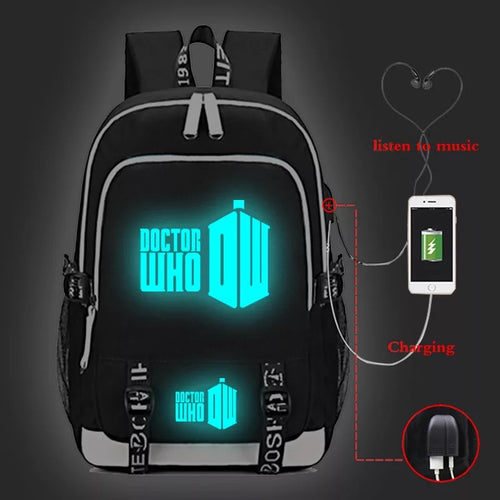 Doctor Who #4 USB Charging Backpack School Note Book Laptop Travel Bags Luminous