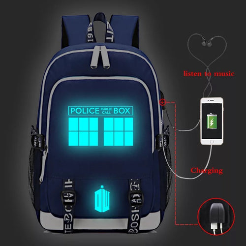 Doctor Who #5 USB Charging Backpack School Note Book Laptop Travel Bags Luminous