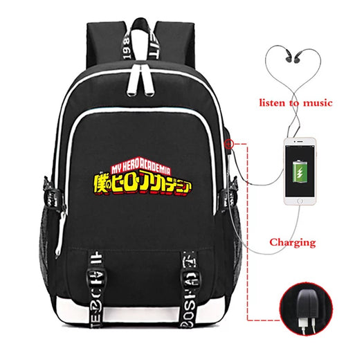 Anime My Hero Academia #2 USB Charging Backpack School Note Book Laptop Travel Bags