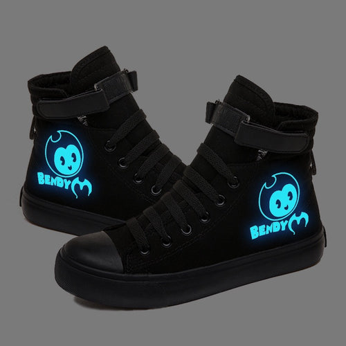 Bendy and the Ink Machine #1 High Tops Casual Canvas Shoes Unisex Sneakers Luminous