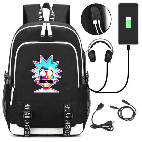 Anime Rick And Morty #2 USB Charging Backpack School Note Book Laptop Travel Bags