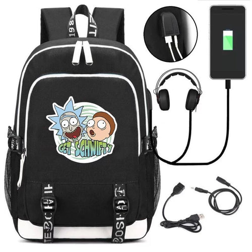 Anime Rick And Morty #4 USB Charging Backpack School Note Book Laptop Travel Bags