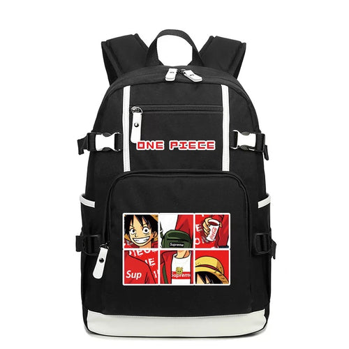 One Piece #1 USB Charging Backpack School NoteBook Laptop Travel Bags