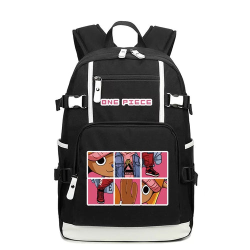 One Piece #4 USB Charging Backpack School NoteBook Laptop Travel Bags