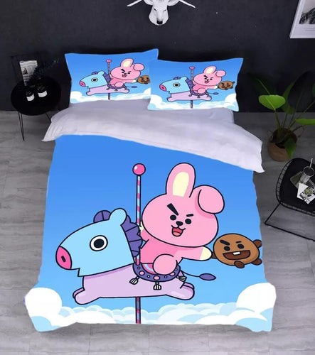 Kpop BTS BT21 COOKY Mang Bedding Set Duvet Cover Set Bedroom Set Bedlinen 3D Bag