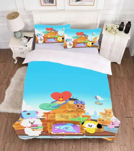 Kpop BTS BT21 Tata Cooky Bedding Set Duvet Cover Set Bedroom Set Bedlinen 3D Bag