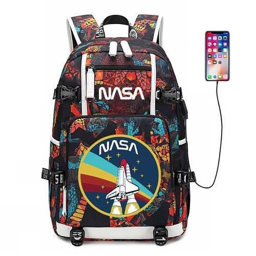NASA Space #2 USB Charging Backpack School NoteBook Laptop Travel Bags